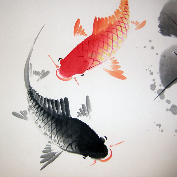 Double Fish And Lotus 2 Chinese Flower Painting