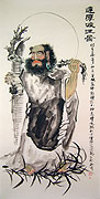 Chinese religion paintings - Bodhidharma Crossing the River on a Reed
