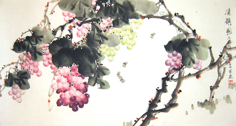 grapes  chinese flower painting, Natural flower