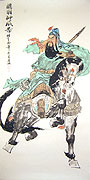 Chinese people paintings - Guan Gong on His Horse (Red Hare)