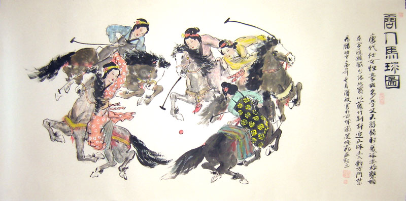 Chinese people paintings - Beauties Playing Polo