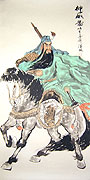 Chinese people paintings - Guan Yu on Horse