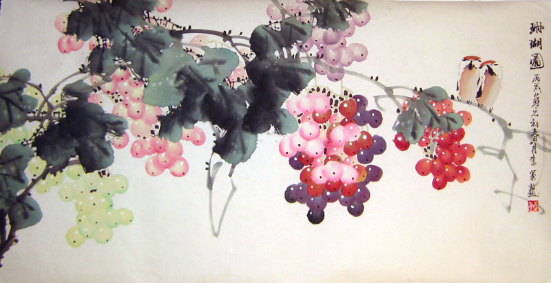 Chinese flower paintings - Grapes and Birds