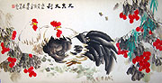 Chinese bird paintings - Double Chicken