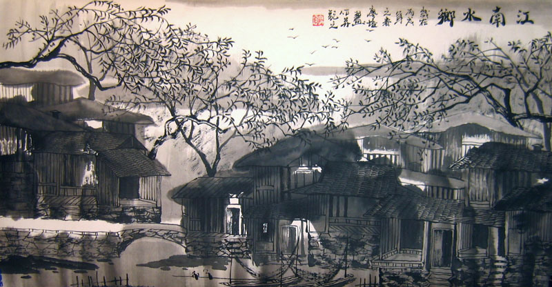 Chinese landscape paintings - Ancient Towns in a Region of Rivers(3)