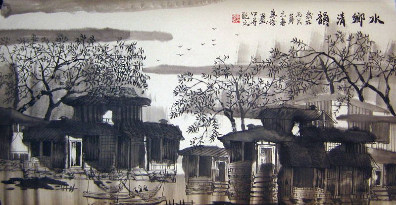 Chinese landscape paintings - Ancient Towns in a Region of Rivers(6)