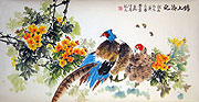 Chinese bird paintings - Golden pheasants and flowers