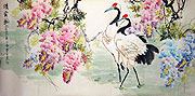 Chinese bird paintings - Cranes and flowers