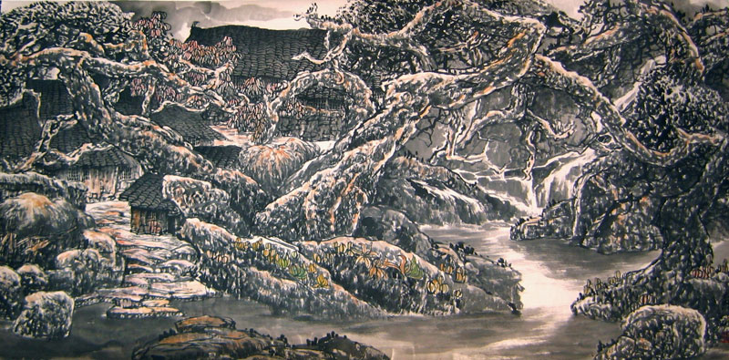 Chinese landscape paintings - Mountain Village (2)