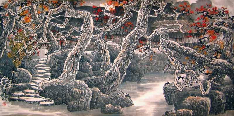Chinese landscape paintings - Mountain Village (3)