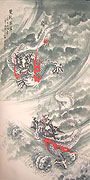 Chinese dragon paintings - Double Flying Dragons