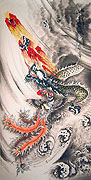 Chinese dragon paintings - Flying Dragon and Phoenix Playing Fire Ball