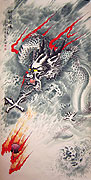 Chinese dragon paintings - Dragon and Fire Ball
