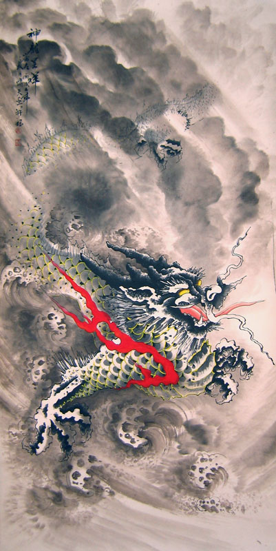 Chinese dragon paintings - Flying Black Dragon