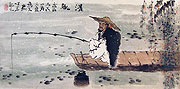 Chinese people paintings - Old fishing man