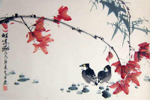 Chinese mynas - Chinese bird painting