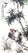Chinese bamboo paintings - Bamboo and Sparrows