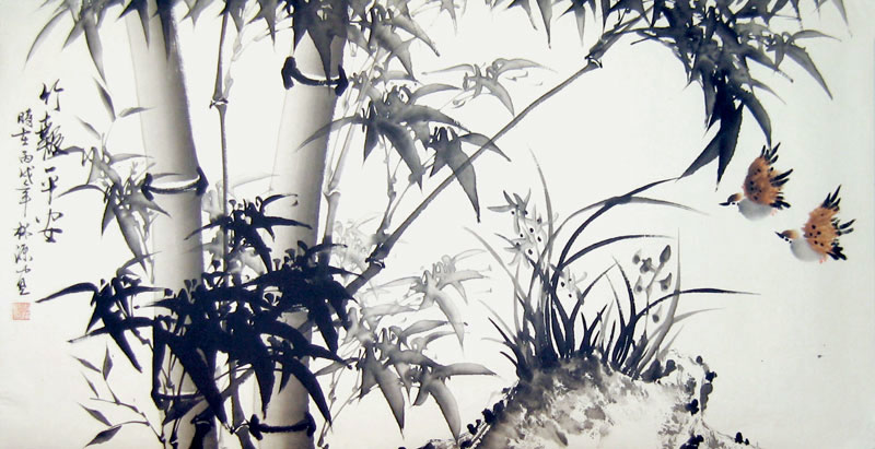 Chinese bamboo paintings - Bamboo and Double Sparrows