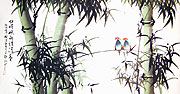 Chinese bamboo paintings - Hua-mei and Green Bamboo