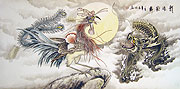 Chinese dragon paintings - Dragon and Phoenix Bringing Auspiciousness