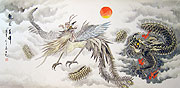 Chinese dragon paintings - Phoenix and Fire Dragon