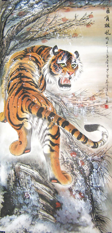 Climbing Tiger - Chinese tiger painting