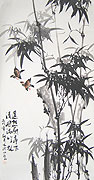 Chinese bamboo paintings - Bamboo and Bird