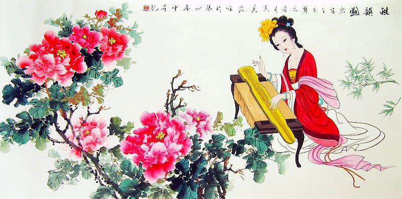 Chinese flower paintings - Peony and Beauty