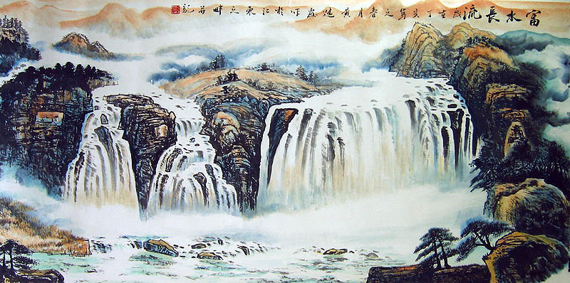 Chinese landscape paintings - Waterfall in the Autumn