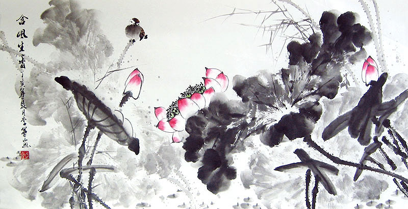 7d9ebdb3a Chinese flower paintings - Lotus and Bird (2)