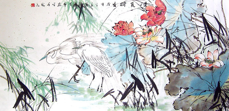 Chinese flower paintings - Water Birds in the Lotus Pool (2)
