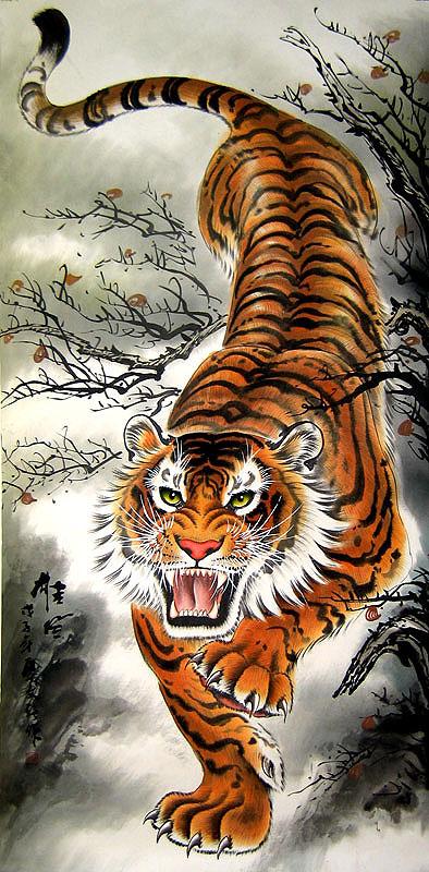 Ancient chinese tiger drawing - photo#8