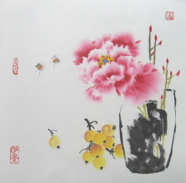 Chinese flower paintings - Vase Of Peony