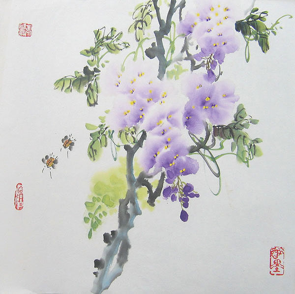 Chinese flower paintings - Wistaria and Bees