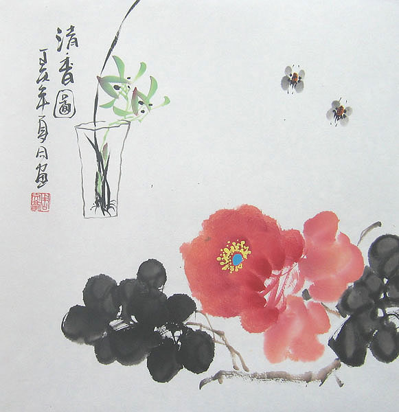 Chinese flower paintings - Red Flower and Bees