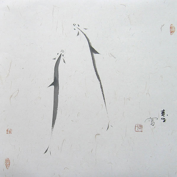 Chinese fish paintings - Double Fishes
