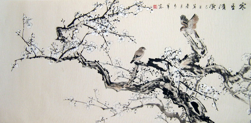 Chinese flower paintings - Ink Plum Blossom