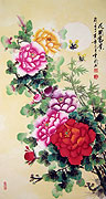 Chinese flower paintings - Penny Flowers ( Good Position and Wealth )