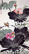Chinese flower paintings - Lotus and Birds