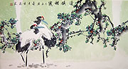 Chinese bird paintings - Double Cranes