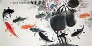 Chinese brush paintings - Lotus and Nine Fish