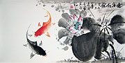 Chinese flower paintings - Double Fish and Lotus (2)