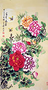 Chinese brush paintings - Penny Flowers ( Good Position and Wealth ) - 2