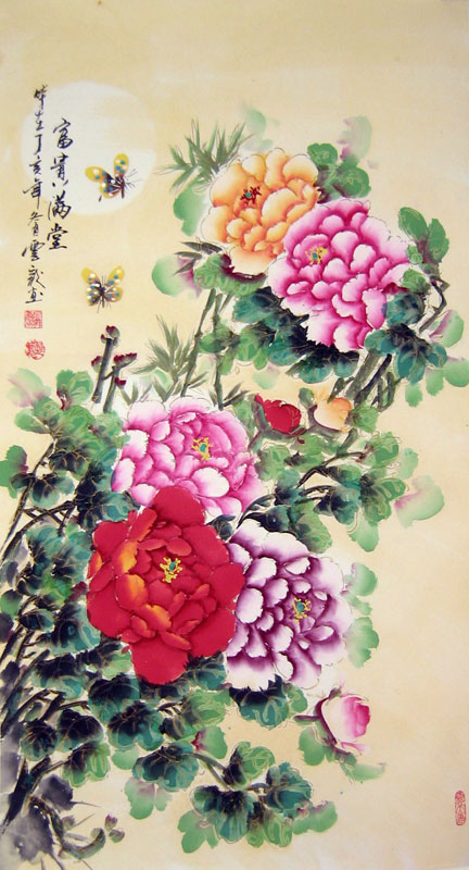 Chinese flower paintings - Penny Flowers ( Good Position and Wealth ) - 2