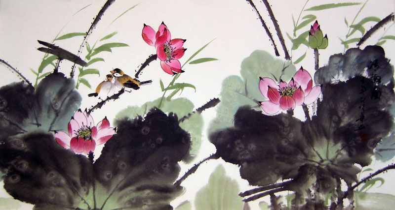 Lotus And Birds Chinese Flower Painting