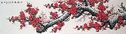 Chinese flower paintings - Red Plum Blossoms Heralds Spring