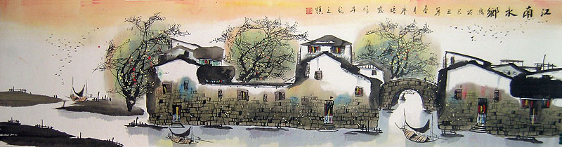Chinese landscape paintings - Water Town Before Dark