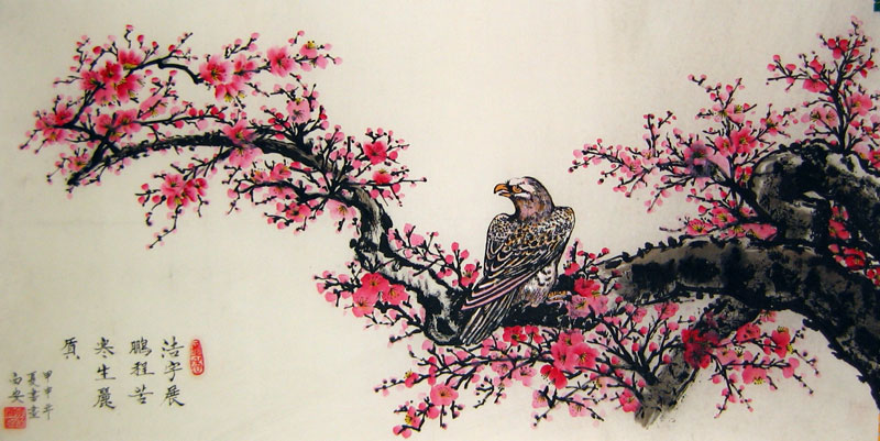 plum blossom and hawk  chinese flower painting, Beautiful flower