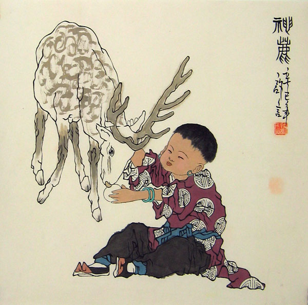Chinese Deer Painting Chinese People Paintings