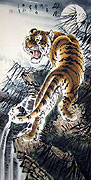 Chinese tiger paintings - Climbing Tiger